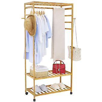 unho kleiderstnder Bambus, Garderobenstnder auf Rollen, offener Kleiderschrank mit Schuhablage