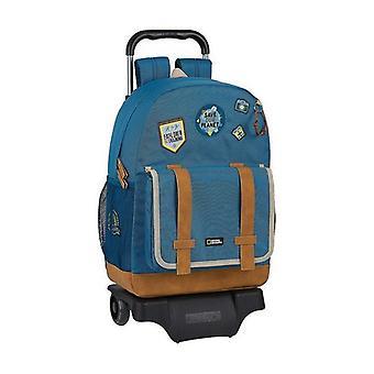 School Rucksack with Wheels 905 National Geographic Explorer Blue Brown