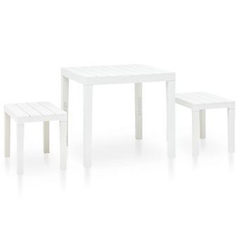 Mesa de jardín con 2 bancos de plástico blanco