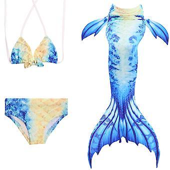 حورية البحر فتاة ملابس السباحة ثلاث قطع بيكيني الذيل للسباحة jp138