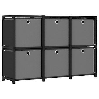 vidaXL Cube shelf with boxes 6 compartments Black 103x30x72.5 cm fabric