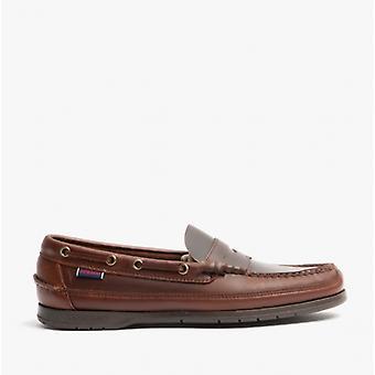 Sebago Sloop hombres cuero cubierta zapatos marrón goma