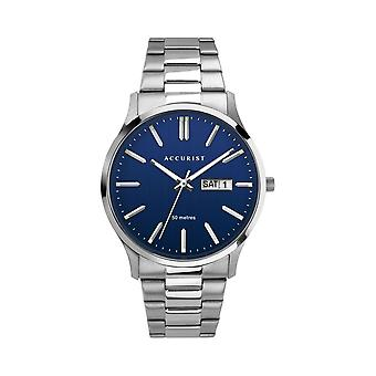 Accurist 7302 Navy And Silver Stainless Steel Classic Men's Watch