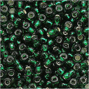 Toho Round Seed Beads 8/0 36 'Silver Lined Green Emerald' 8 Gram Tube
