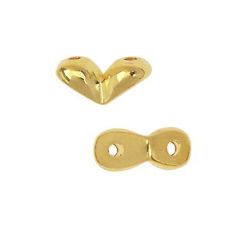 Cymbal Side Bead for GemDuo Beads, Mitakas, 2-Hole V-Shaped 7.5x3.5mm, 10 Pieces, 24K Gold Plated