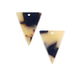 Colgante de acetato de Elementos Zola, Triángulo 16x20mm, 2 Piezas, Concha de Tortuga Marrón Claro
