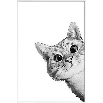 JUNIQE Print - Luskede Kat - Katte Plakat i Grå