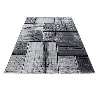 Diseño Shortflor Rug madera viga aspecto sala de estar gris negro fundido