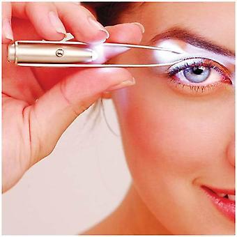 Stainless Steel Makeup Led Light Slant Tip Hair Tweezer