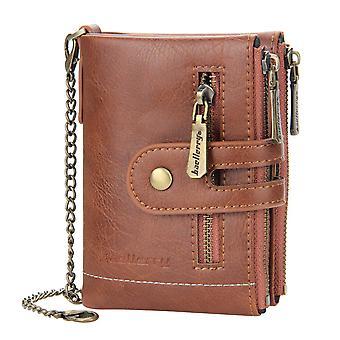 Pánská krátká peněženka dvojitý zip peněženka s více kartami kapesní peněženka