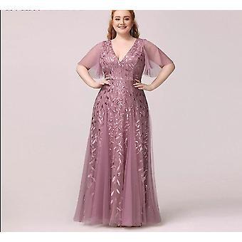 Någonsin Pretty A-line V-neck Ruffles Sleeve Paljetterade eleganta formella klänningar