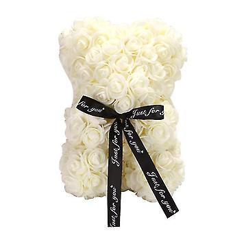 Valentine's day gift 25 cm rose bear birthday gift£¬ memory day gift teddy bear(Milky White)