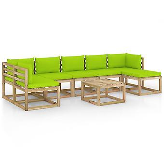 vidaXL 8 pcs. Garden Lounge Set with Cushion Impregnated Pine Wood