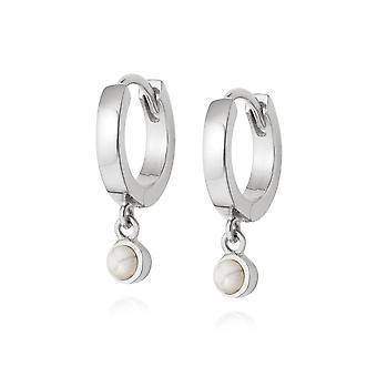 Daisy Howlite Healing Huggie Hoops Sterling Silver Earrings HE3006_SLV