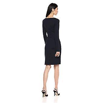 Brand - Lark & Ro Women's Long Sleeve V-Neck Paneled Waist Sheath Dress, Navy, 0