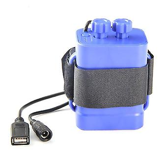 6-slot lithium battery charger, 18650 waterproof battery box, USB 5V output battery pack(Blue)
