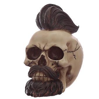 Hipster Mohican Totenkopf Ornament mit Bart und gestylten Haaren