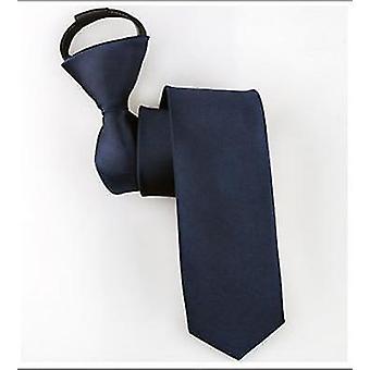 Pre-tied Neck Tie Mens Skinny Zipper Ties Solid Color Slim Narrow Bridegroom