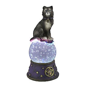 Majestueuze Wolf LED verlicht kristallen bol standbeeld heidense Wicca Pentacle