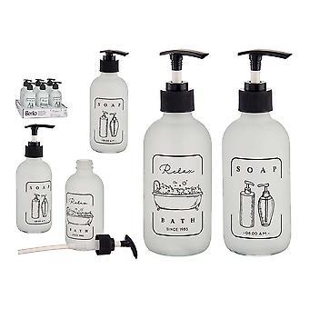 Soap Dispenser White Black Glass polypropylene (6,5 x 16 x 6,5 cm)