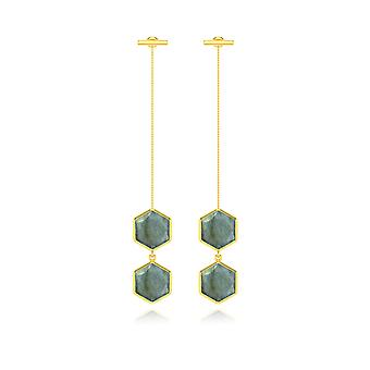 ADEN Gold Plated 925 Sterling Silver Faceted Labradorite Earrings (id 6293)