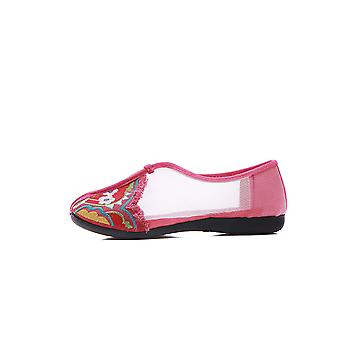 Women's Chinese Ethnic Embroidery Flat Ballet Marry Janes Cheongsam Dancing Shoes Net Yarn Small Garden