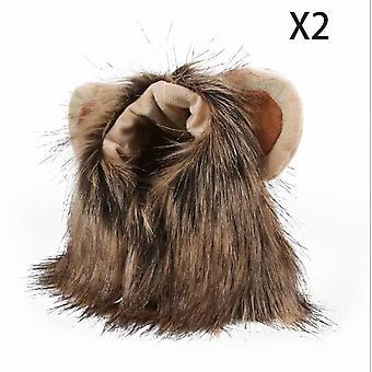 2 Pet Hats Adjustable Headband Halloween Wig Headband Headwear Cat And Dog Hat Funny Lion Headwear L