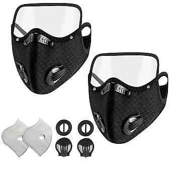 Pm2.5 Andningsbar munmask Unisex Skyddsmask med ögonsköld avtagbar