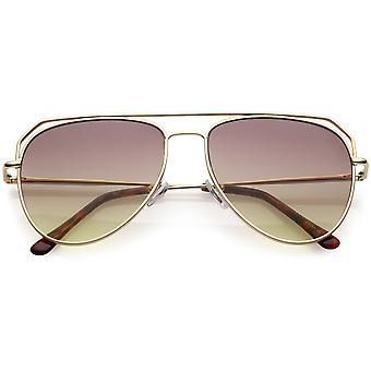 Современные авиатор солнцезащитные очки открыть металлический двойной ригель градиента плоский объектив 55 мм