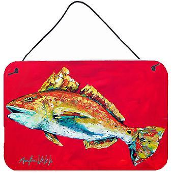 سمك-الأسماك الحمراء وو هوو الألومنيوم المعدنية الجدار أو الباب معلقة يطبع