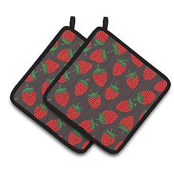 Carolines Schätze BB5137PTHD Erdbeeren auf graue paar Topflappen