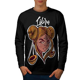 Libra Men BlackLong Sleeve T-shirt | Wellcoda