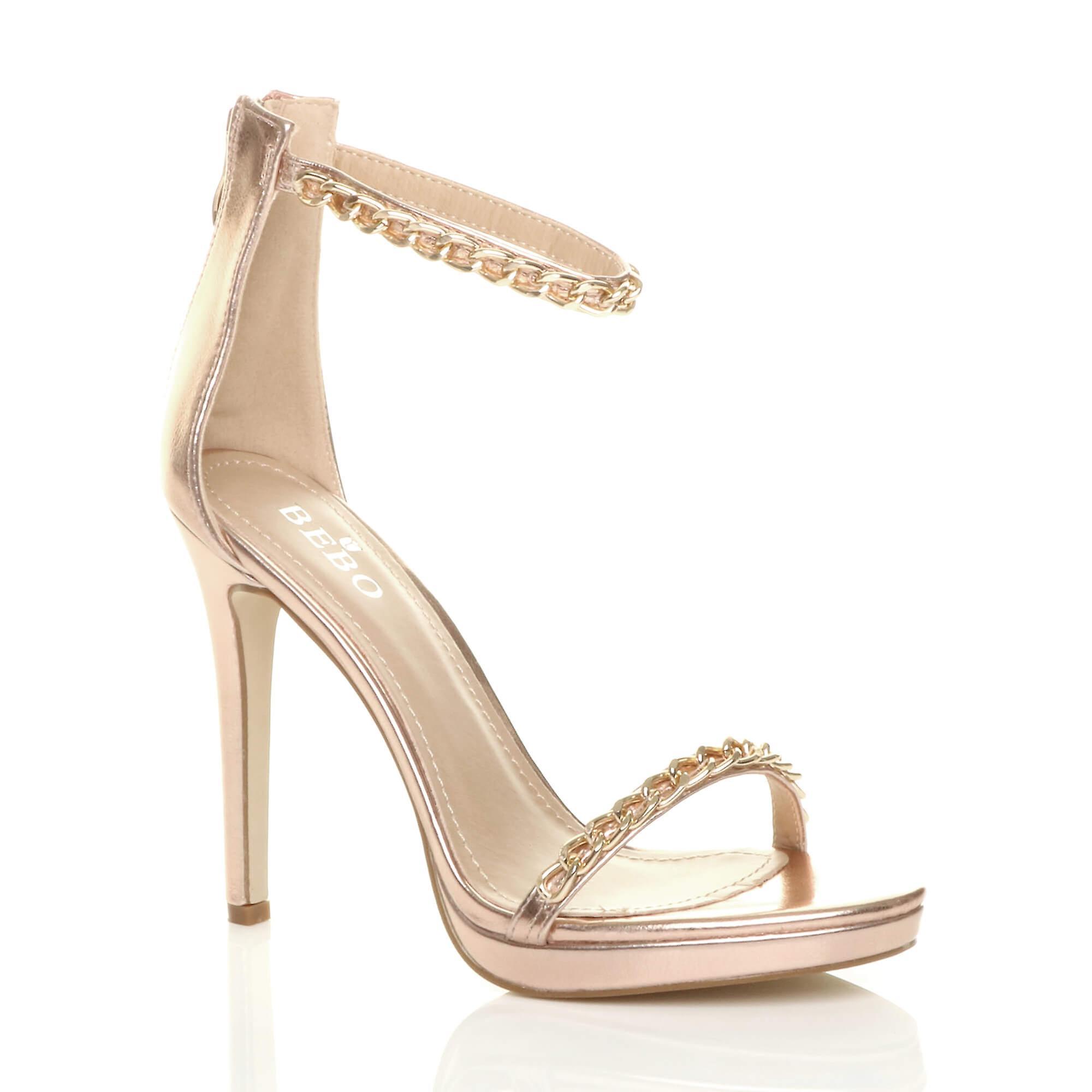 Ajvani damskie wysokie pięty ledwo tam łańcucha paski sandały buty partii NdDJP