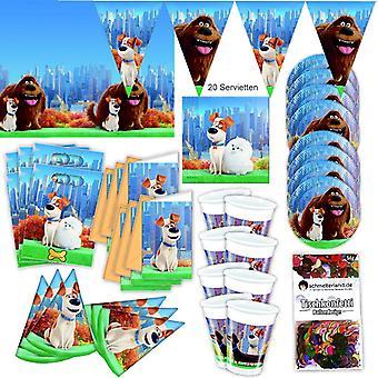 Animais de estimação do filme festa XL Kit 63-teilig para 6 pessoas Petsparty aniversário decoração parte pacote