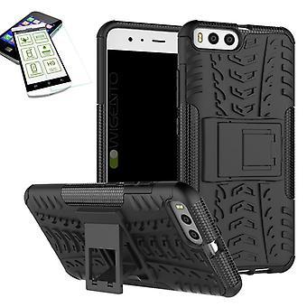 Hybrid case 2 stuk zwart voor Xiaomi Mi6 + tas-gevaldekking van gehard glas
