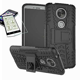 For Motorola Moto E5 plus hybrid case 2 piece black + tempered glass bag case cover sleeve