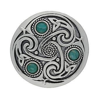 Triskele celtico fatto a mano 3 Amazonite pietre preziose spilla peltro