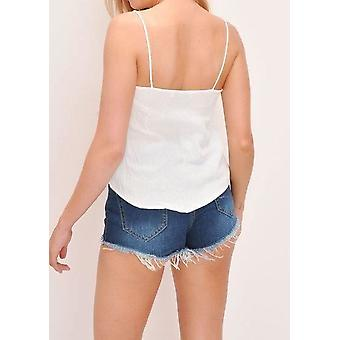 Button Front Cami Top White