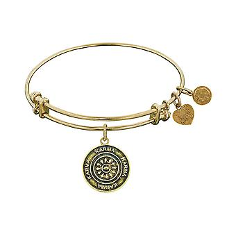 Smooth Finish Brass Karma Angelica Bangle Bracelet, 7.25""