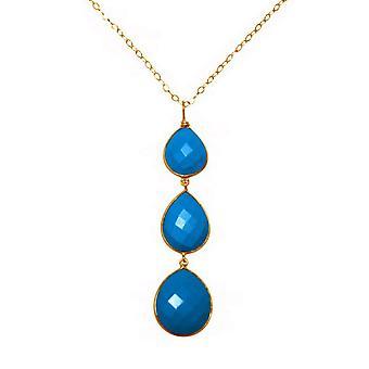 Collier - pendentif - argent 925 - plaqué or - turquoise - bleu - tout type - 9 cm