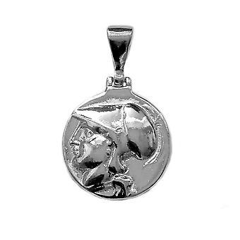 Pingente de prata esterlina Athena deusa grega, diâmetro 20mm