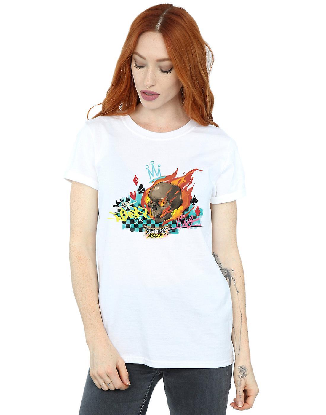 Disney Women's Wreck It Ralph Race Skull Boyfriend Fit T-Shirt