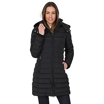 Evvor Womens Fitted Warm and Padded Hooded Long Parka Coat