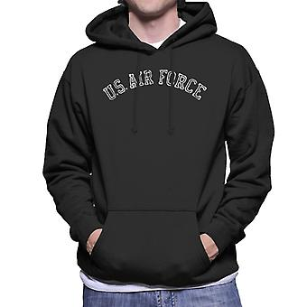 US Airforce Training White Text Distressed Men's Hooded Sweatshirt