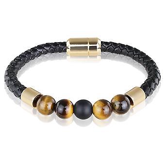 Skipper in pelle bracciale braccialetto con perline 21,5 cm marrone/nero 7726