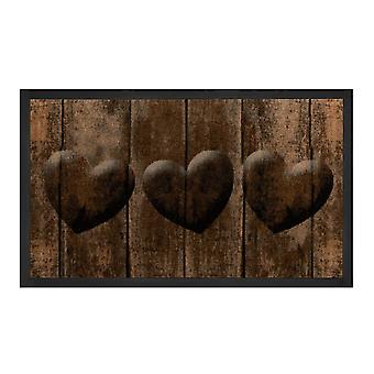Tecla de captura de suciedad corazones Brown Grau 45 x 75 cm
