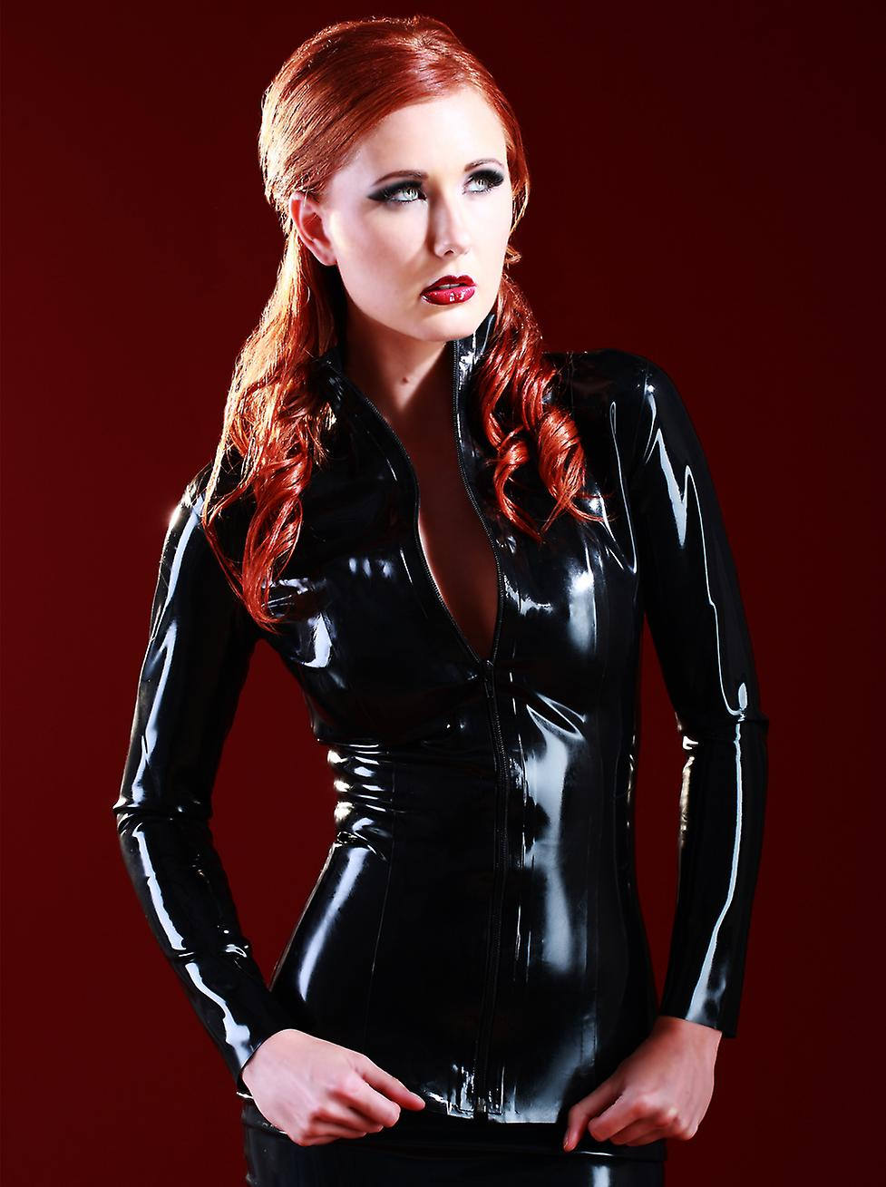Skin Two Clothing Women's Jacket Coat Tight Fitted Zipper Front in Rubber Latex