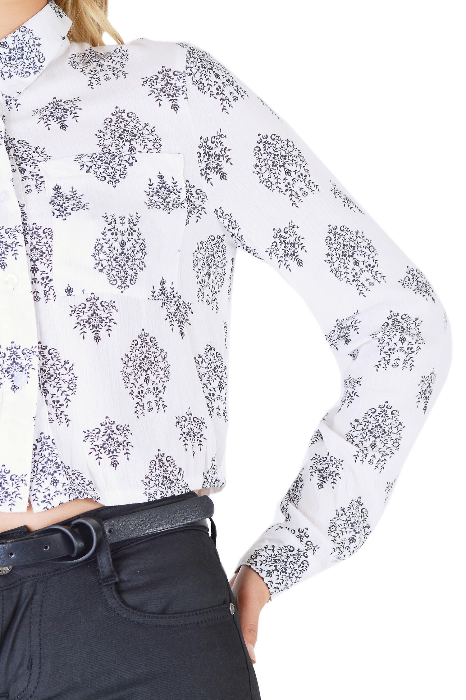 Lola May Cropped White Shirt With All Over Print