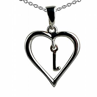 Silver 18x18mm initial L in a heart Pendant with a rolo Chain 20 inches