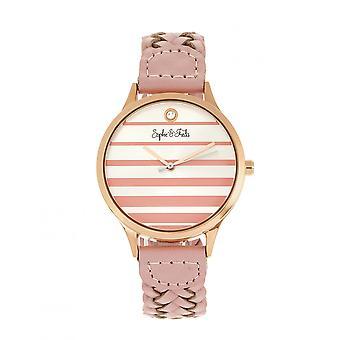 Sophie & Freda Tucson kožené-Band hodinky w/Swarovski kryštály-ružové zlato/ružová